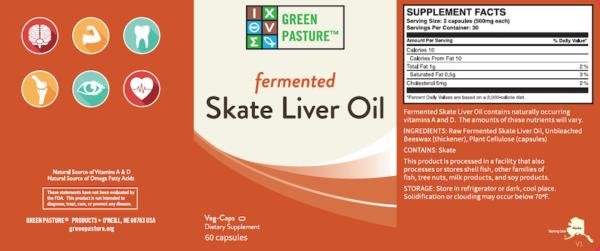 Green Pasture Skate Liver Oil Label