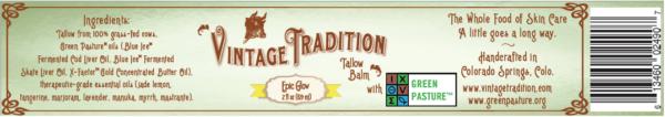 Vintage Tradition Epic Glow Tallow Balm Label & Ingredients