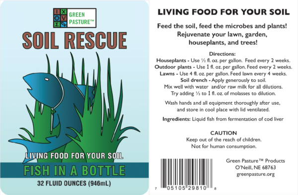 Green Pasture Soil Rescue Label and Directions