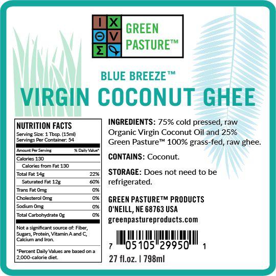 Green Pasture Virgin Coconut Ghee Label, Ingredients & Nutrition Facts