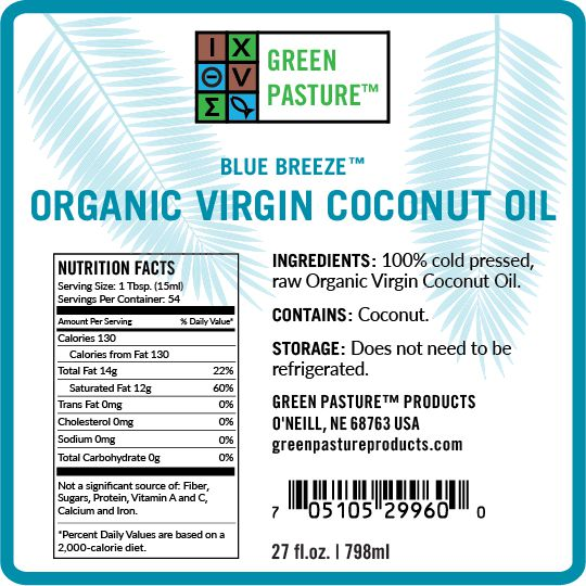 Green Pasture Virgin Coconut Oil Product Label, Ingredients & Nutrition Info
