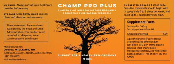 Champ Pro Plus Supplement Label